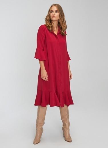 People By Fabrika Volanlı Bol Kesim Elbise Bordo